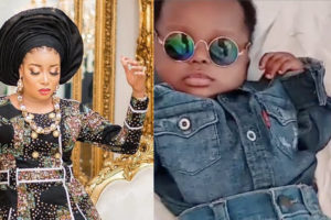 Actress Lizzy Anjorin and her baby